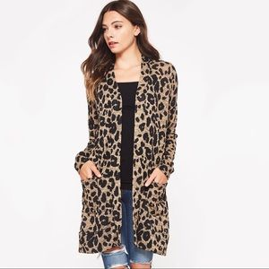 Sweaters - Soft Cozy Leopard Print Long Cardigan
